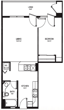 TYPE A - 1 BEDROOM 1 BATH - 707 Total Square Feet - 584 sq. ft Living Area - 123 sq. ft. Lanai