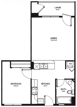 TYPE B - 1 BEDROOM 1 BATH - 652 Total Square Feet - 578 sq. ft Living Area - 74 sq. ft. Lanai