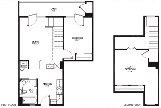 TYPE J - 2 BEDROOM 1 BATH Something for every lifestyle 932 Total Square Feet ~ 809 sq. ft Living Area ~ 123 sq. ft. Lanai